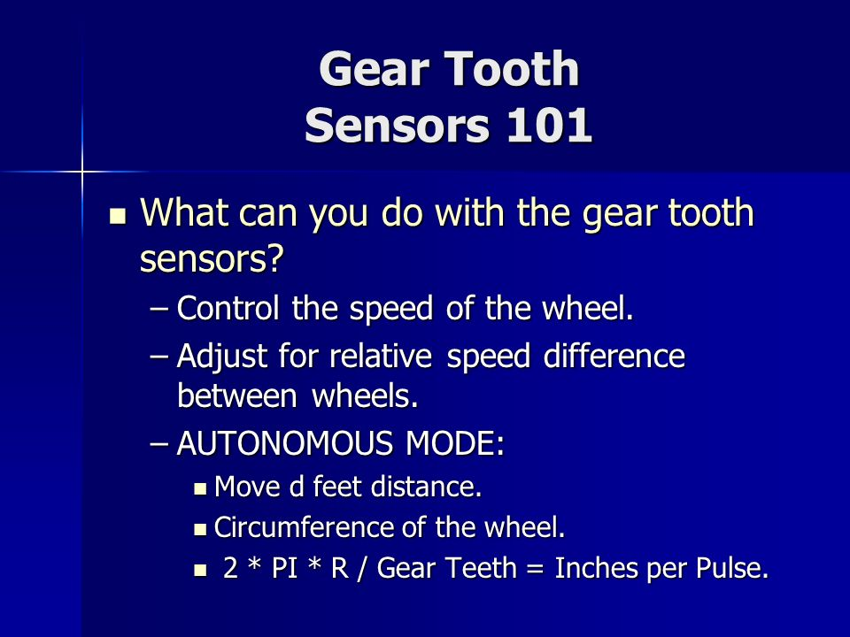 Gear Tooth Sensors 101 What can you do with the gear tooth sensors