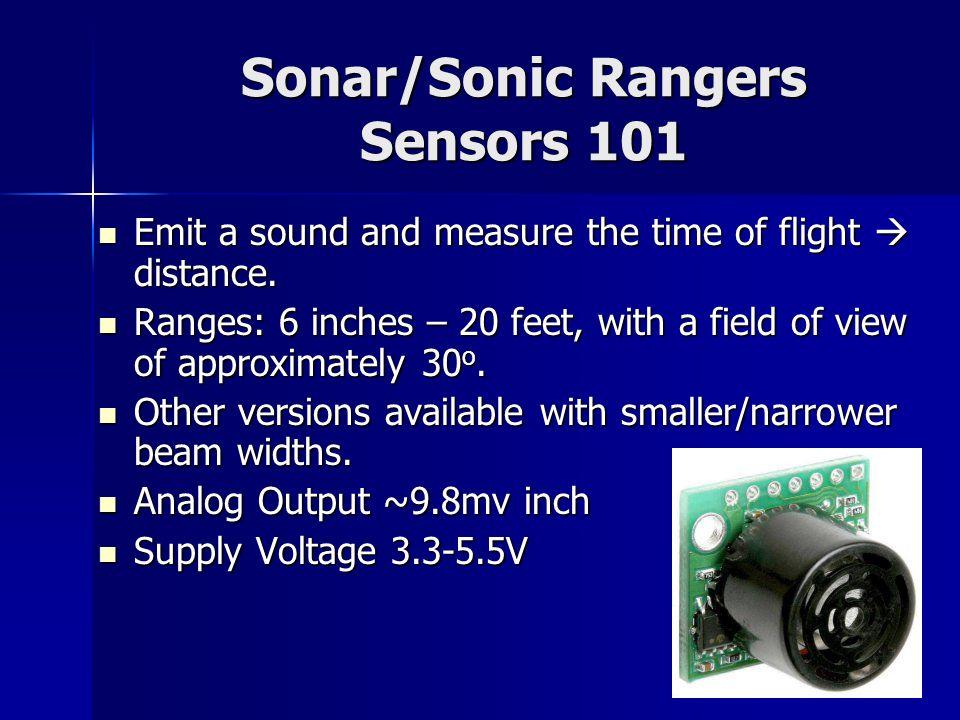 Sonar/Sonic Rangers Sensors 101