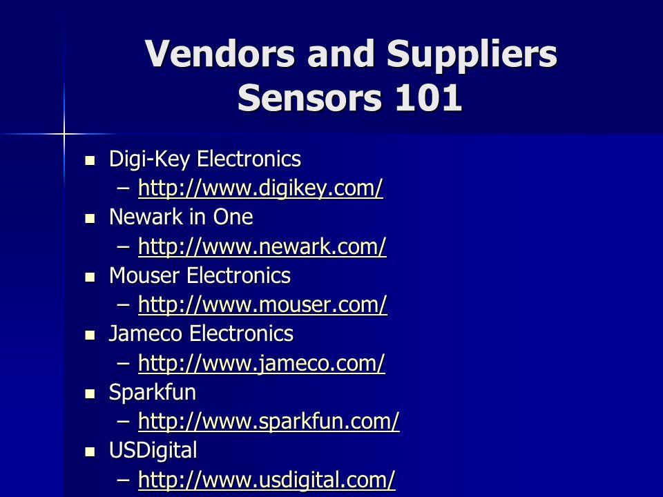 Vendors and Suppliers Sensors 101