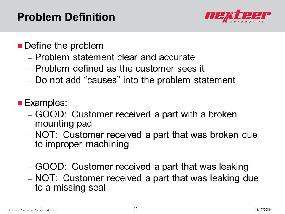 Problem Definition Define the problem