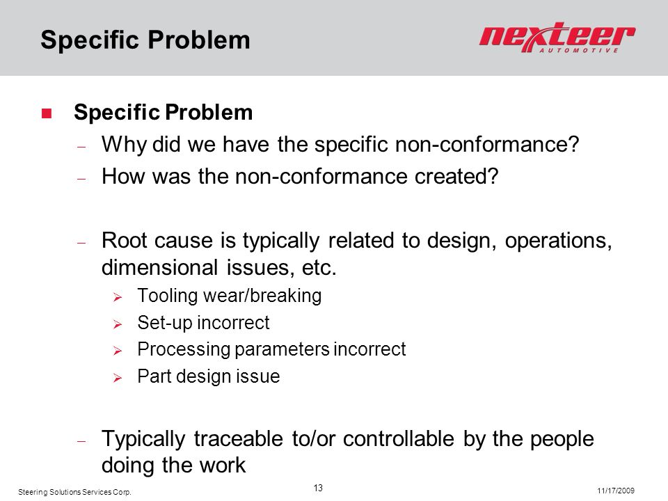 Specific Problem Specific Problem