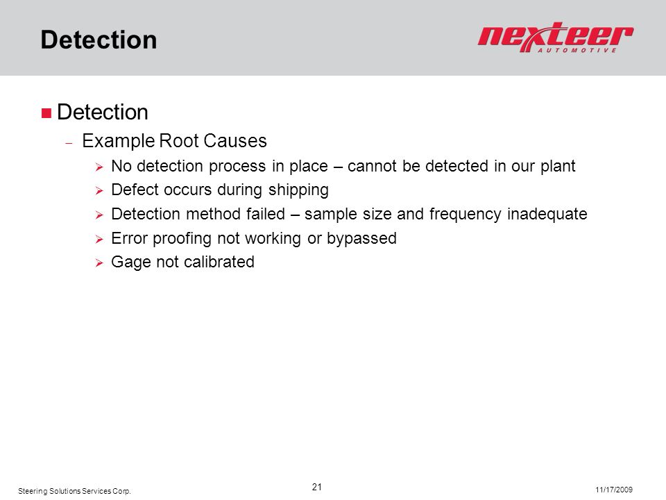 Detection Detection Example Root Causes