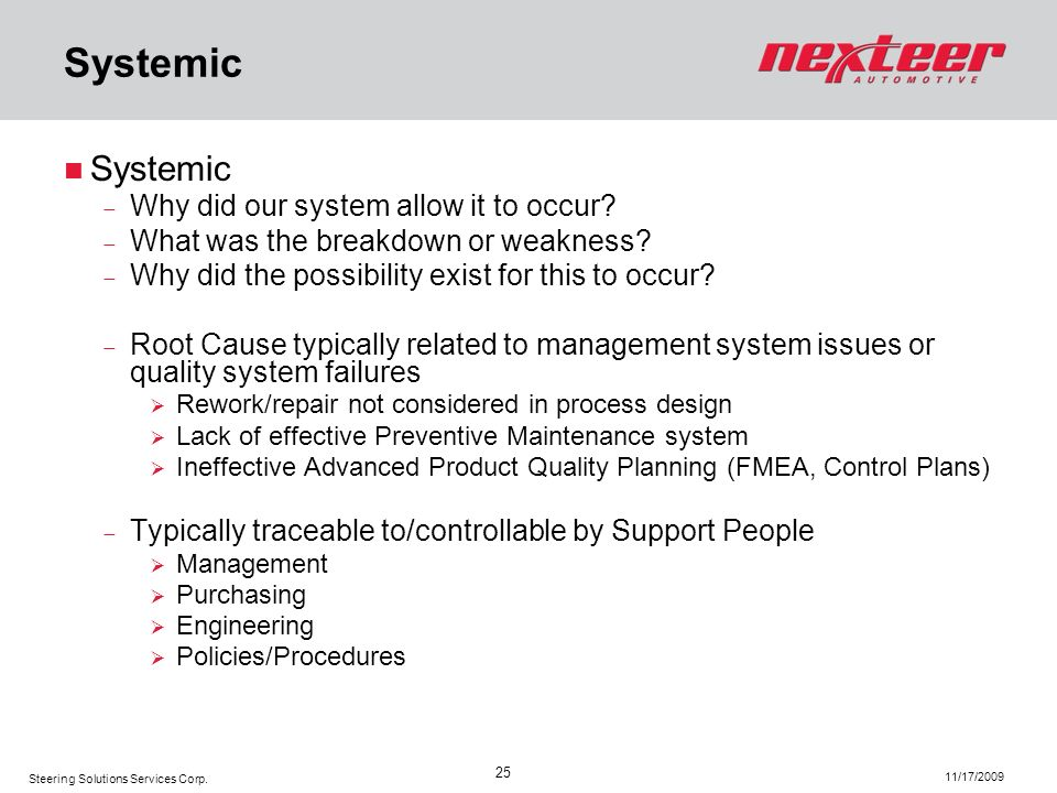 Systemic Systemic Why did our system allow it to occur