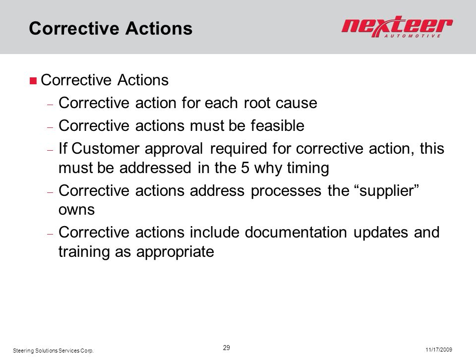 Corrective Actions Corrective Actions