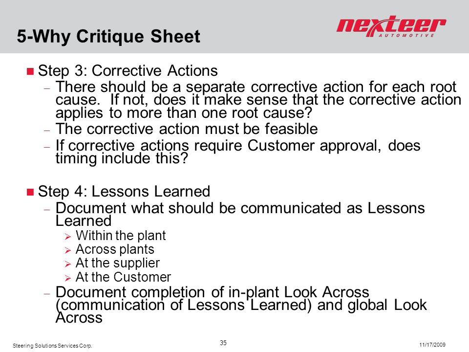 5-Why Critique Sheet Step 3: Corrective Actions
