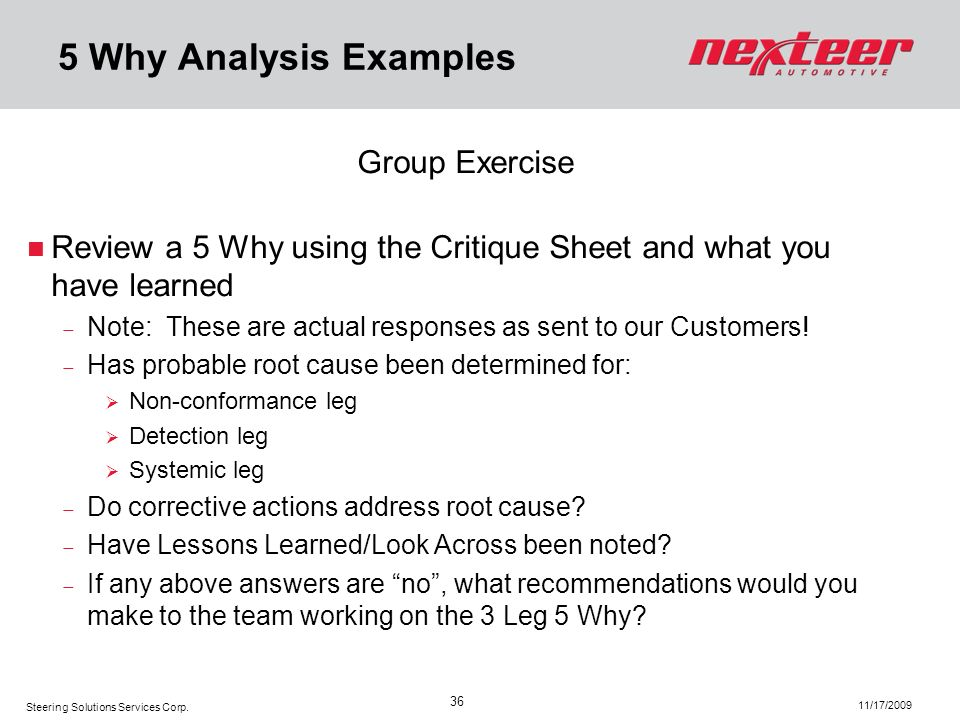5 Why Analysis Examples Group Exercise