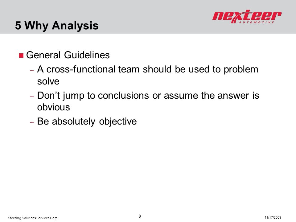 5 Why Analysis General Guidelines