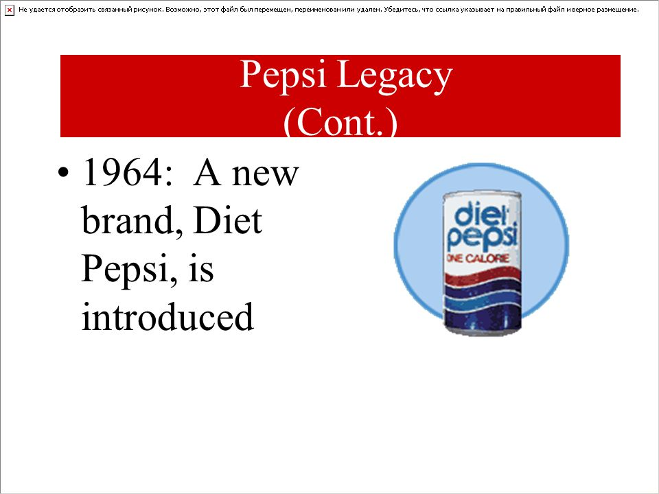 Pepsi Legacy (Cont.) 1964: A new brand, Diet Pepsi, is introduced