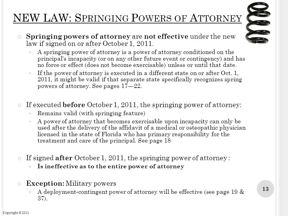 NEW LAW: Springing Powers of Attorney