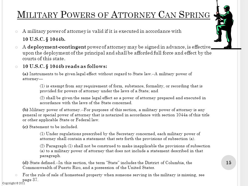 Military Powers of Attorney Can Spring