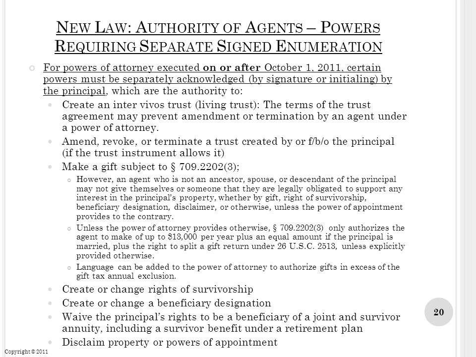 New Law: Authority of Agents – Powers Requiring Separate Signed Enumeration