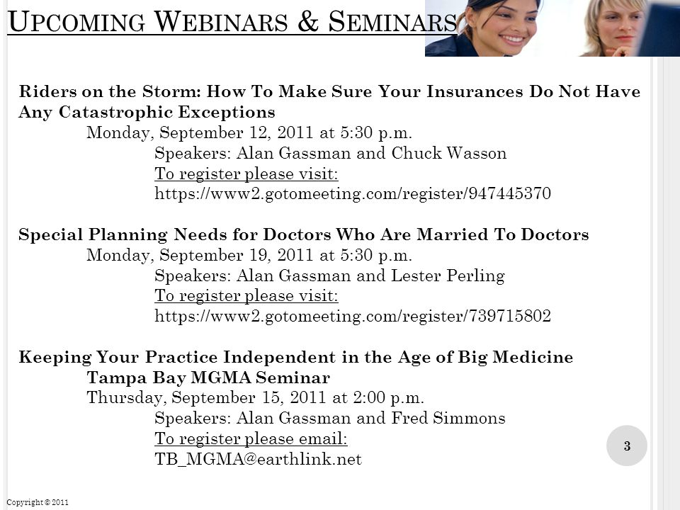Upcoming Webinars & Seminars