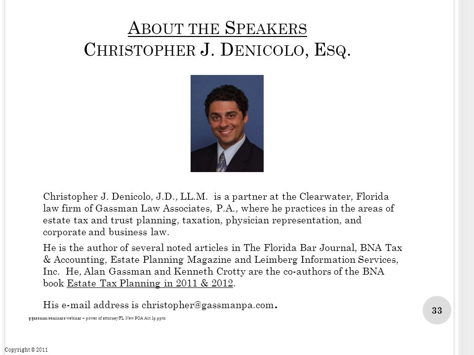 About the Speakers Christopher J. Denicolo, Esq.