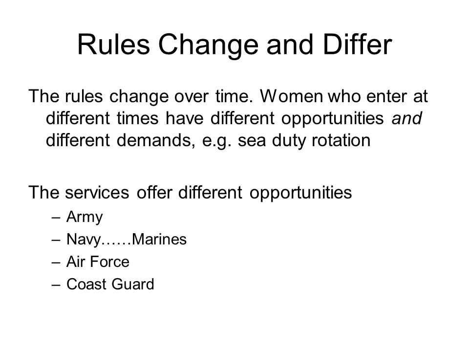 Rules Change and Differ