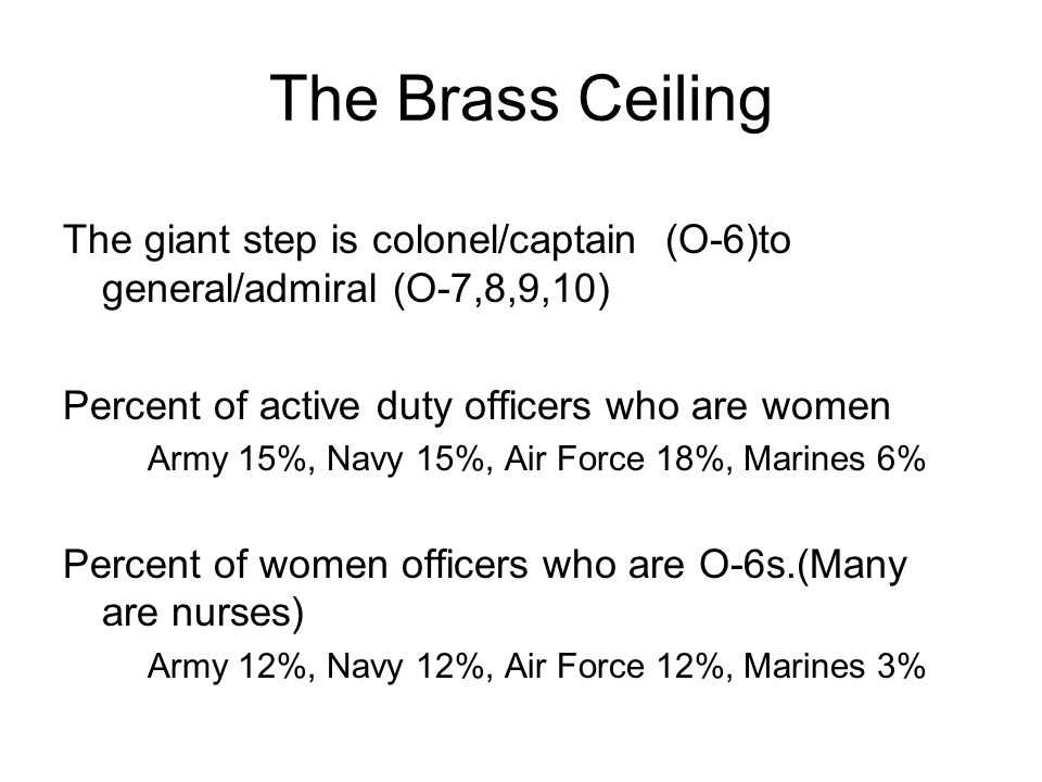 The Brass Ceiling The giant step is colonel/captain (O-6)to general/admiral (O-7,8,9,10) Percent of active duty officers who are women.