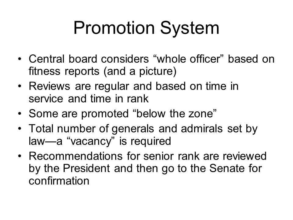 Promotion System Central board considers whole officer based on fitness reports (and a picture)