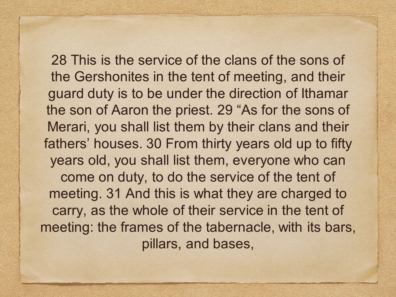 28 This is the service of the clans of the sons of the Gershonites in the tent of meeting, and their guard duty is to be under the direction of Ithamar the son of Aaron the priest.