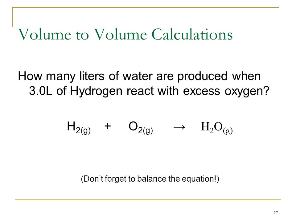 Volume to Volume Calculations