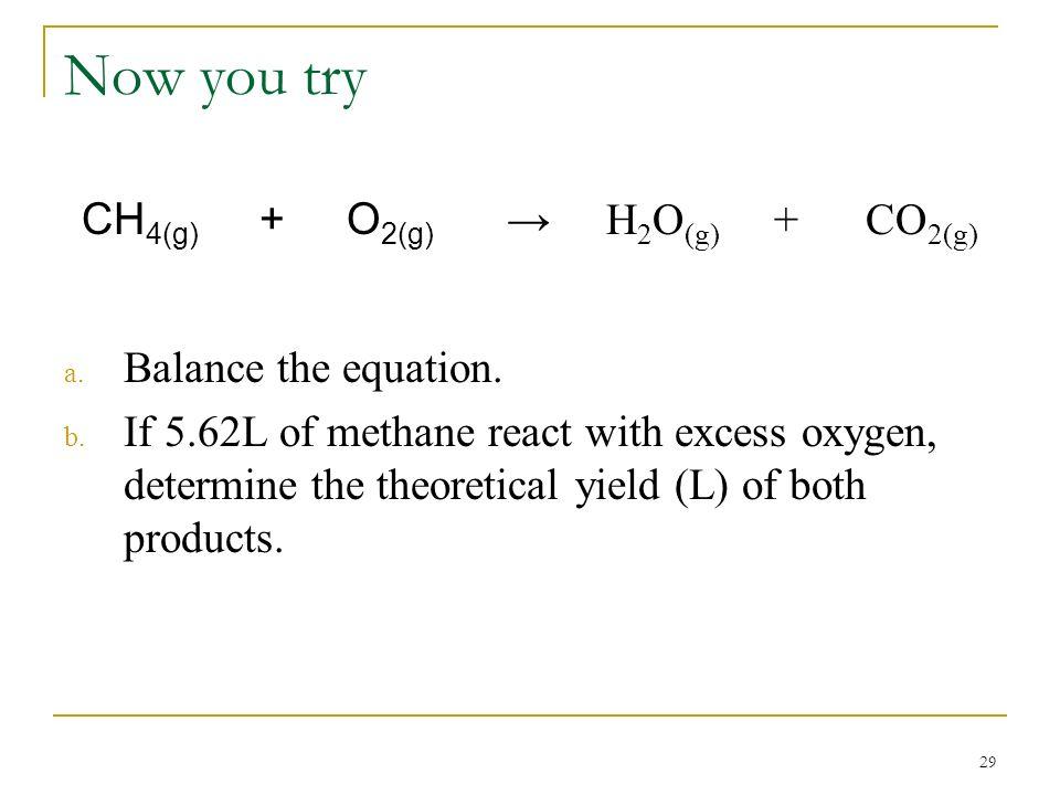 CH4(g) + O2(g) → H2O(g) + CO2(g)