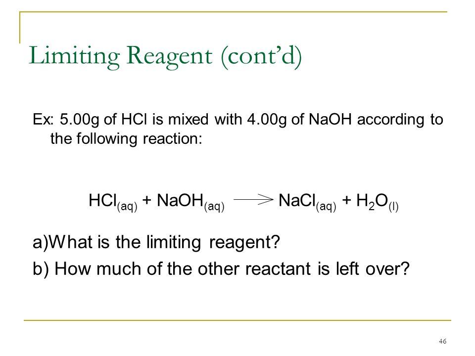 Limiting Reagent (cont'd)