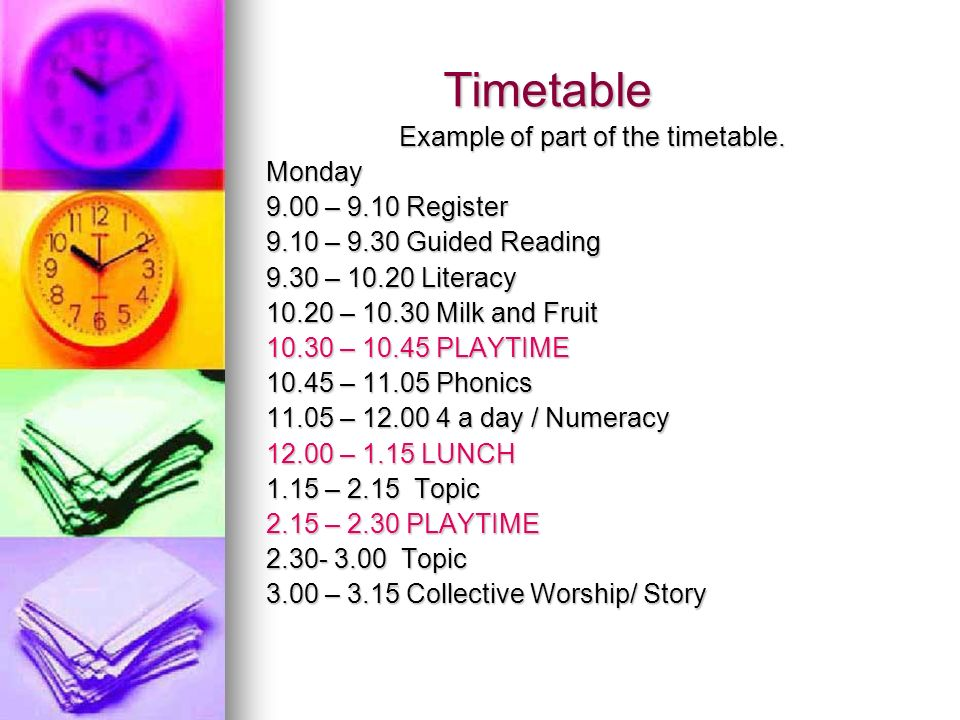 Example of part of the timetable.