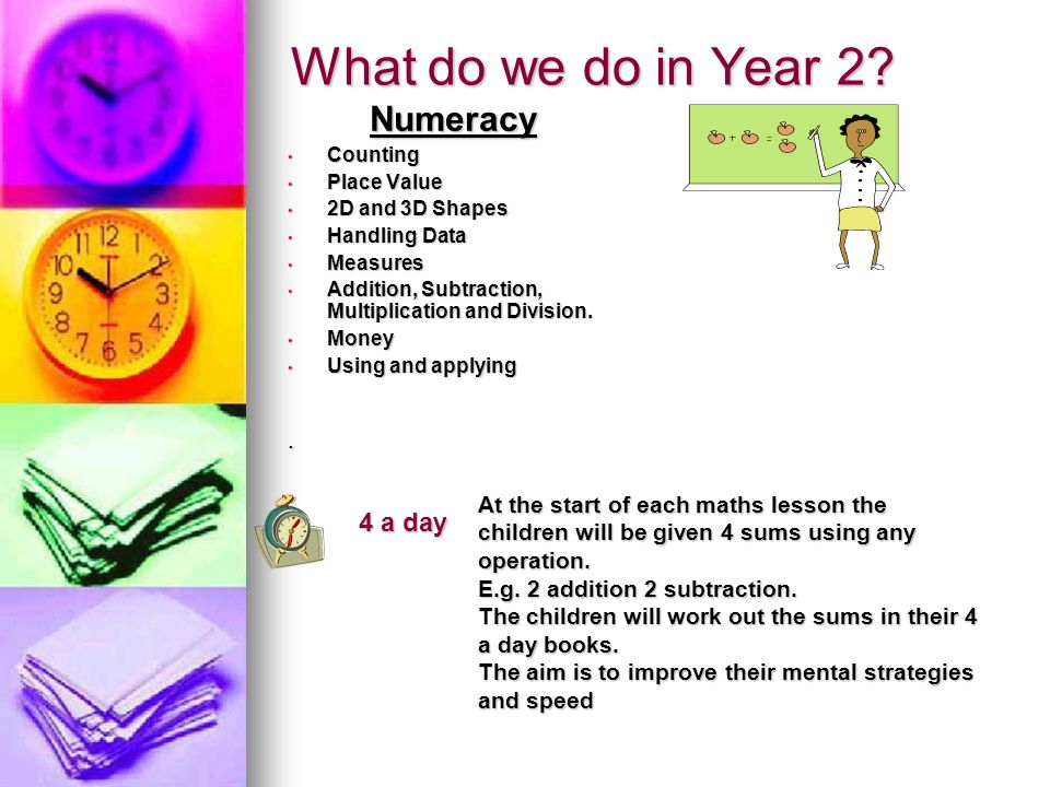 What do we do in Year 2 Numeracy 4 a day .