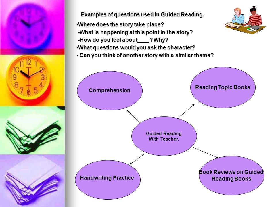 Examples of questions used in Guided Reading.