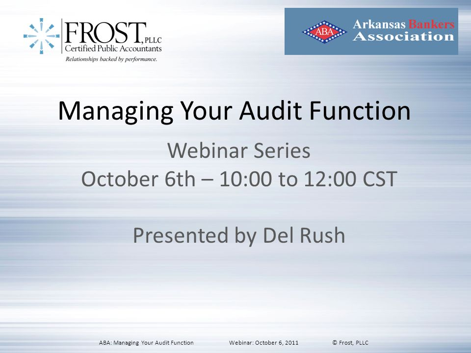 Managing Your Audit Function