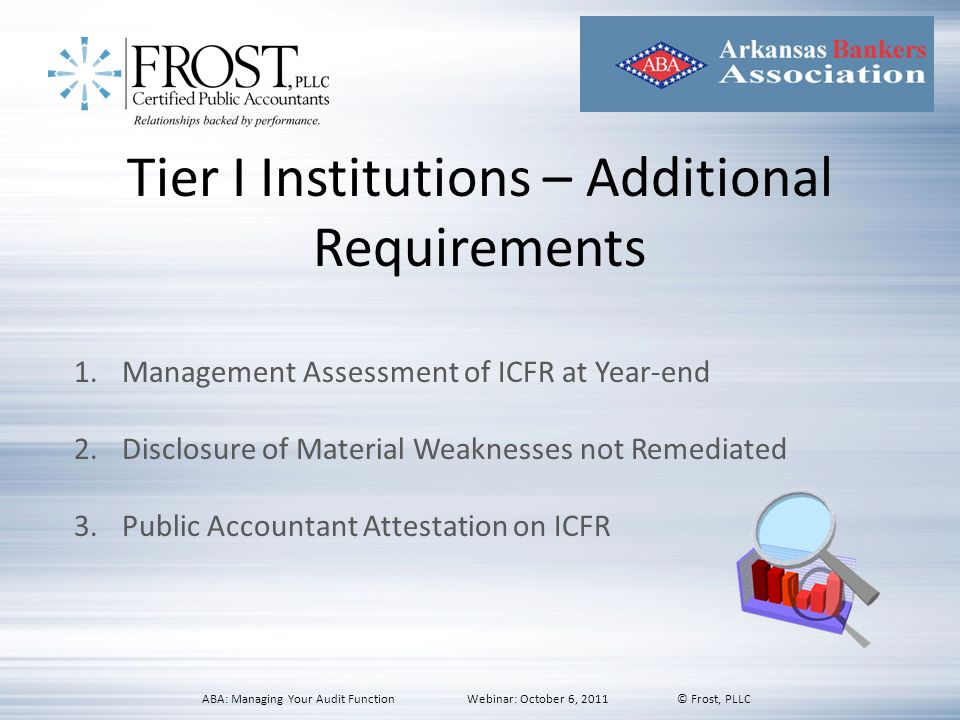 Tier I Institutions – Additional Requirements