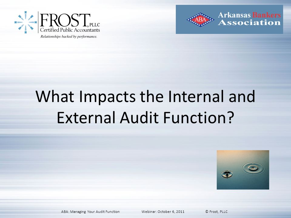 What Impacts the Internal and External Audit Function