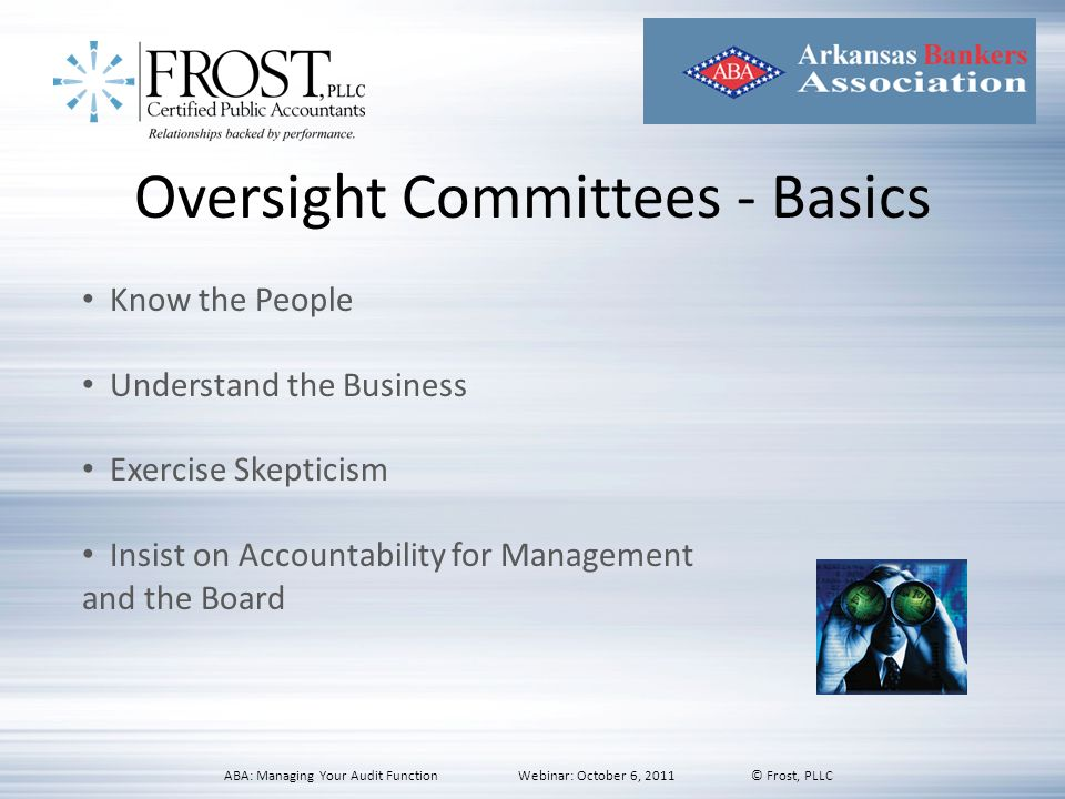 Oversight Committees - Basics