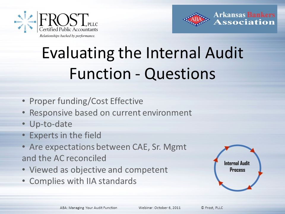 Evaluating the Internal Audit Function - Questions