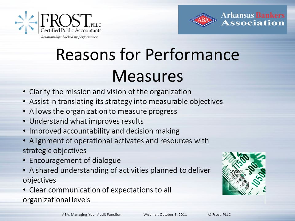Reasons for Performance Measures