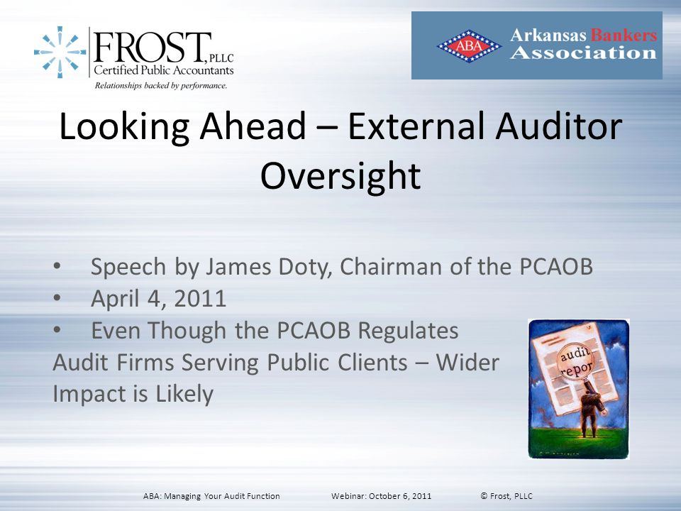 Looking Ahead – External Auditor Oversight