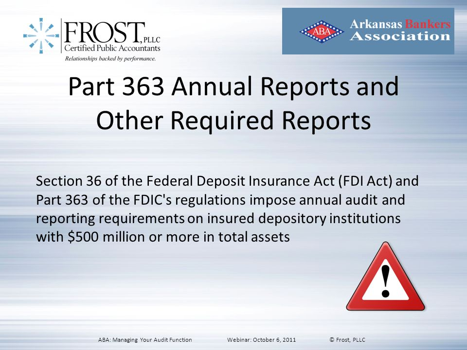 Part 363 Annual Reports and Other Required Reports