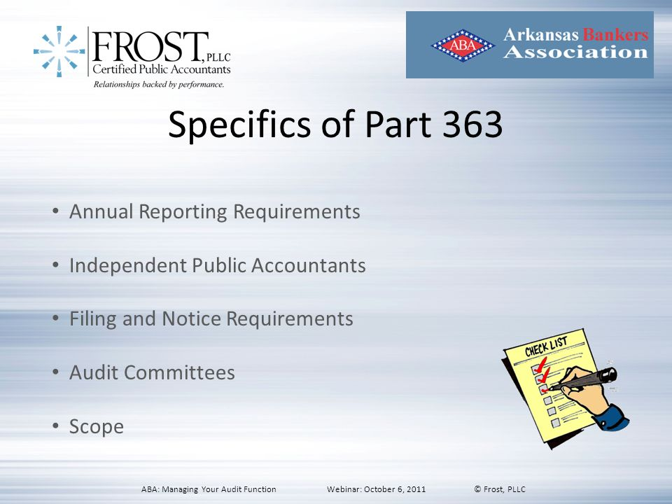 Specifics of Part 363 Annual Reporting Requirements