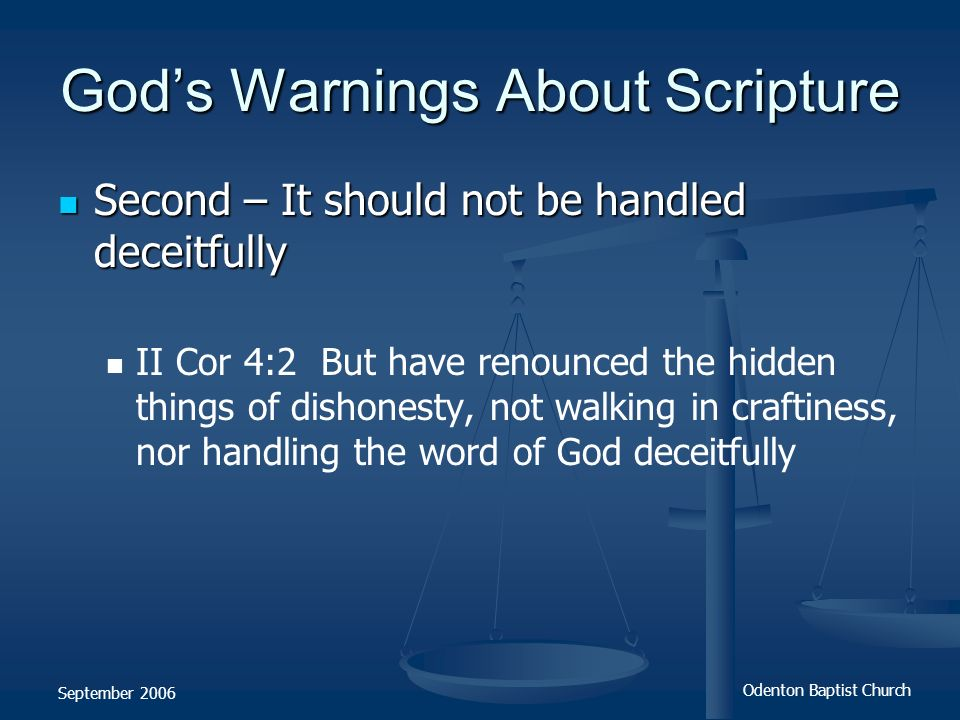 God's Warnings About Scripture