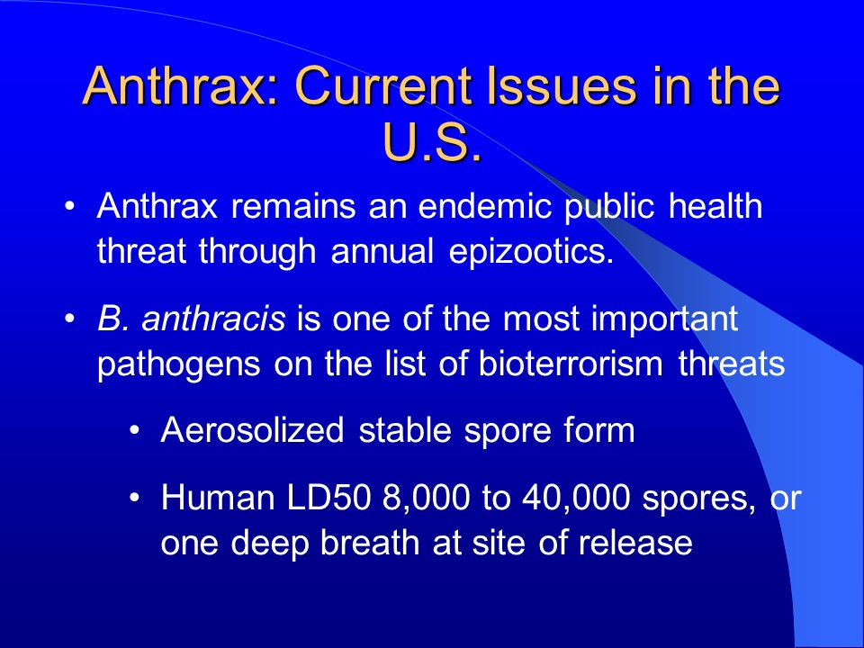 Anthrax: Current Issues in the U.S.