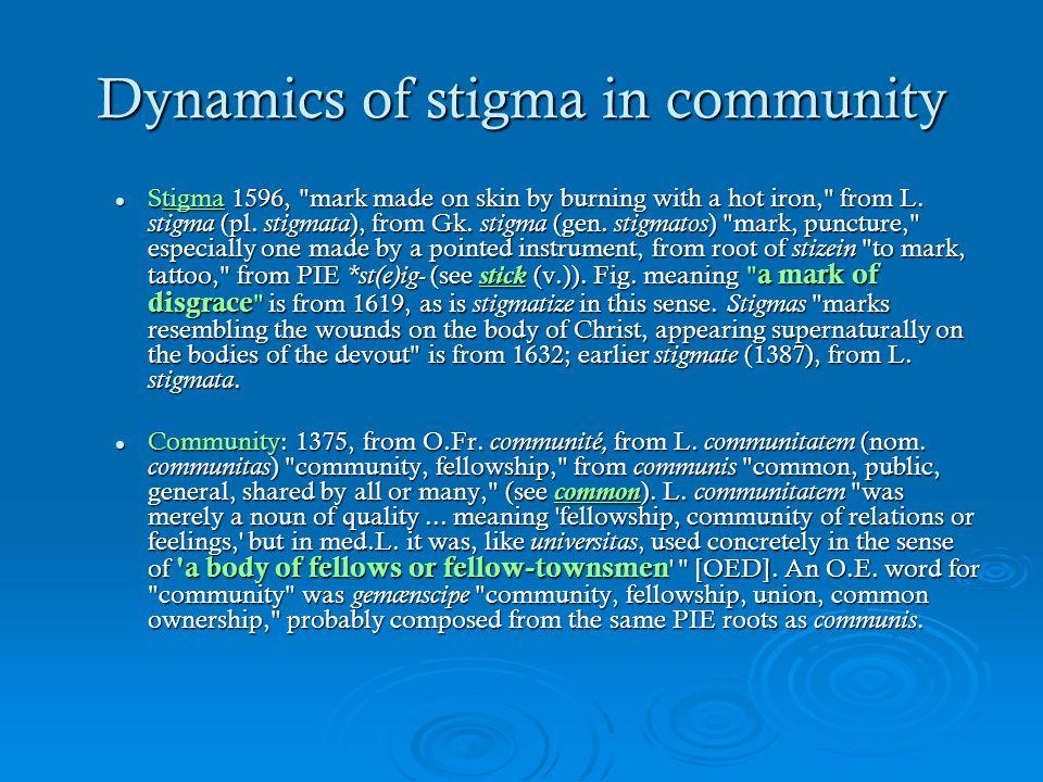 Dynamics of stigma in community