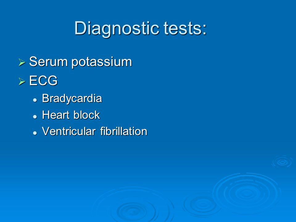 Diagnostic tests: Serum potassium ECG Bradycardia Heart block