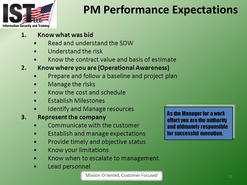 PM Performance Expectations