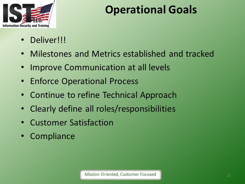 Operational Goals Deliver!!!