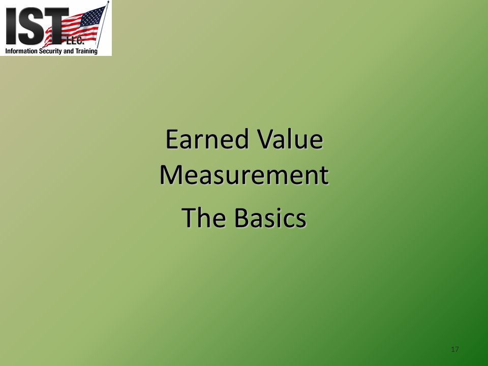 Earned Value Measurement The Basics