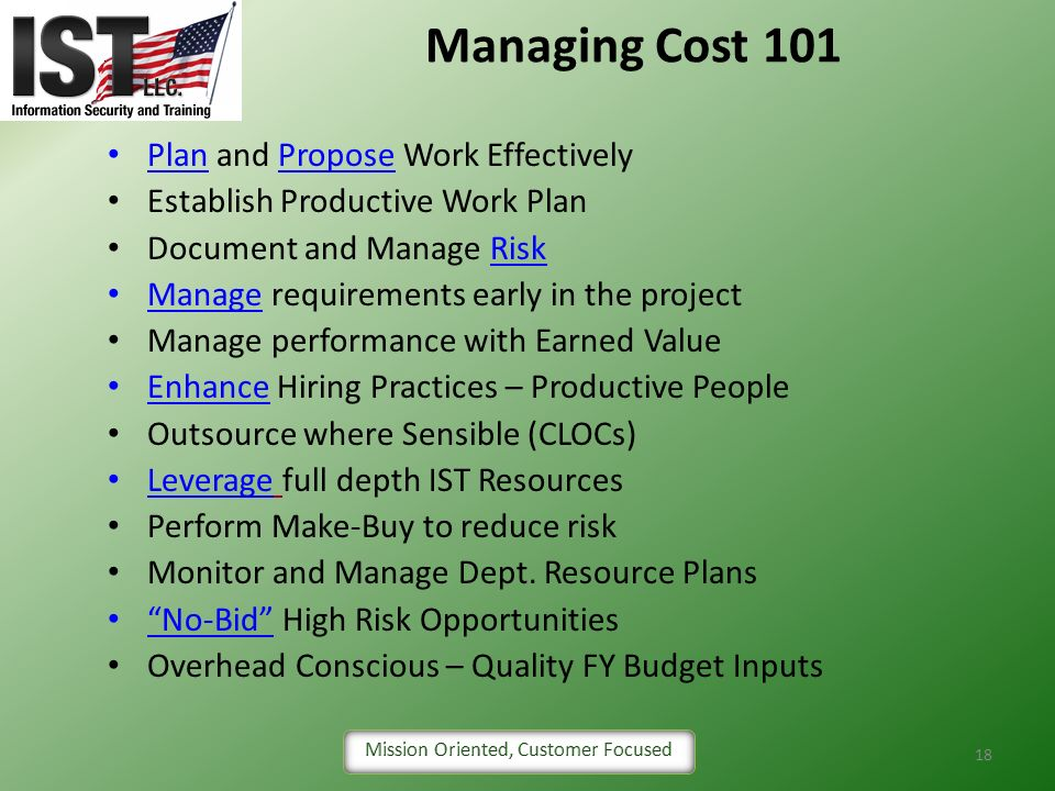 Managing Cost 101 Plan and Propose Work Effectively