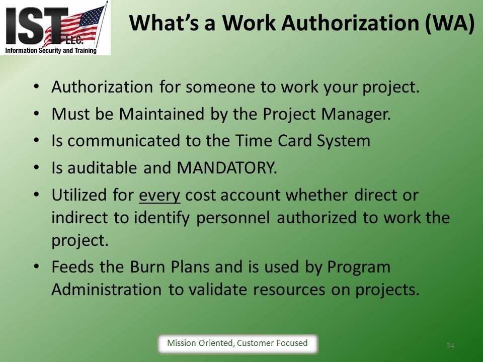 What's a Work Authorization (WA)