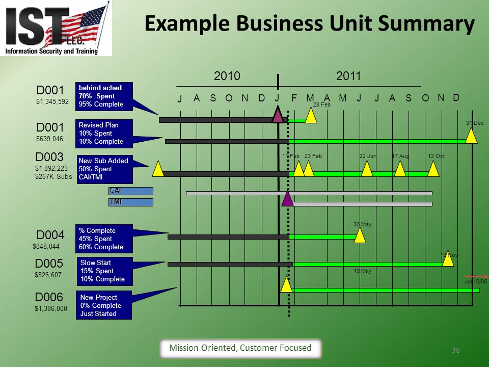 Example Business Unit Summary