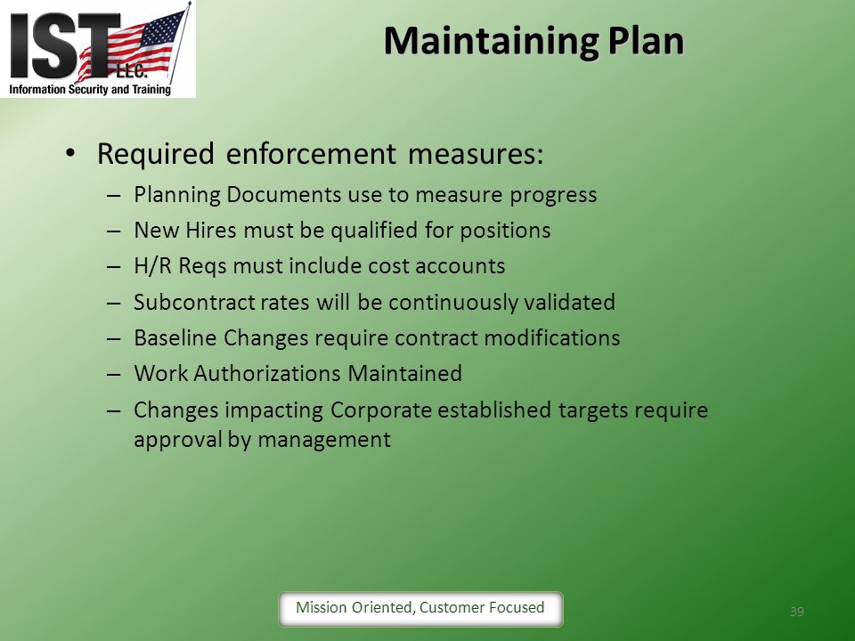 Maintaining Plan Required enforcement measures: