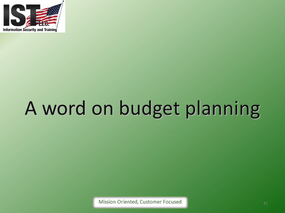A word on budget planning
