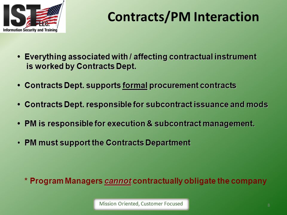 Contracts/PM Interaction