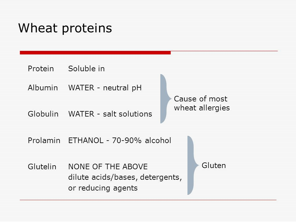 Wheat proteins Protein Soluble in Albumin WATER - neutral pH Globulin